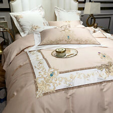 Bedding set 4 pieces cotton embroidery vine quilt cover flat sheet pillowcases