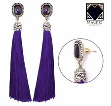 MACKRI Octagon Shape Amethyst Gemstone Long Tassel Stud Earrings VIOLET