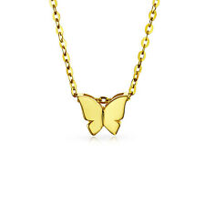 Tiny Minimalist Butterfly 14K Yellow REAL Gold Pendant Necklace