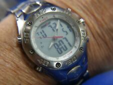 Vintage TIMEX IRONMAN T3 Indiglo deployant BAND SILVER tone Watch 720 A100