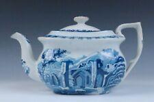 Antique Staffordshire Pearlware TEAPOT Blue Transferware Ruins Horses English