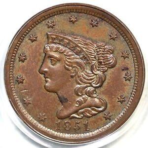 1851 C-1 PCGS MS 63 BN Braided Hair Half Cent Coin 1/2c