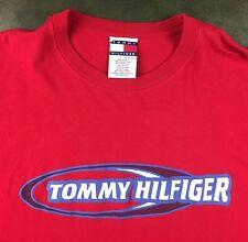 Vintage Mens 90s Tommy Hilfiger Streetwear Red 100% Cotton Urban T-Shirt 2XL XXL