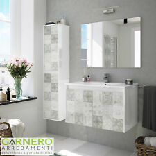 Mobile bagno sospeso Brik base lavabo specchio 2ante cemento salvaspazio moderno