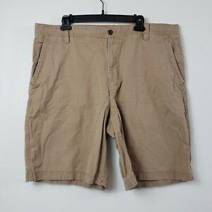 "Izod Mens Chino Shorts Size 40 Beige Brown Cotton Flat Front 8.5"" Inseam"