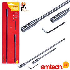 3 Pcs Flat Wood Bit Extension Bar Set Shank 6'' & ''12 + Hex Key Amtech - F0770