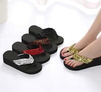 Summer Womens Platform Wedge Flip Flops Sequins slippers Beach Flip Flat Sandals