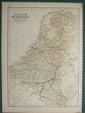 1882 LARGE ANTIQUE MAP ~ BELGIUM & THE NETHERLANDS ~ HOLLAND ANTWERP BRUSSELS