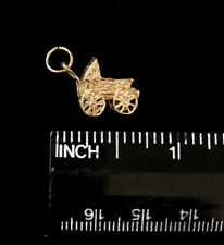 "14K Baby Carriage Stroller Charm 3D, 5/8"" Nice Gift Item /  Free Shipping!"