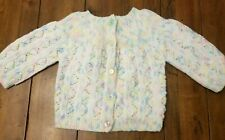 Vintage Baby Girl 6-12 mths Crocheted Pastel Cotton Candy Jacket Sweater Pink