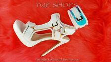 "Scorpio White Hologram Strap 5"" High Heel Harness Strap Shoe US Sizes 7-10"