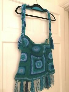 Hand-made 1970s Inspired Crochet Shopper / Tote Bag - Teal Granny Square