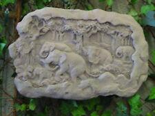 Elefant Elefanten Relief Wandbild Antik Kunst Sandstein Look Steinguß A 13 GRAU