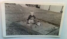 Vintage PHOTO Leashed Boy On Homemade Leash Playing In His Sandbox