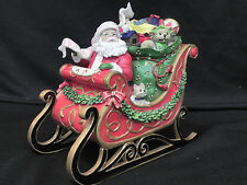 """Fitz & Floyd 2012 Santa in toy sled music box """"Here Comes Santa Claus"""" Adorable!"""