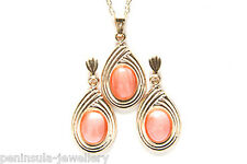 9ct Gold Coral Pendant and Earring Set Gift Boxed Made in UK