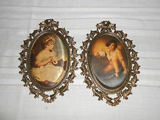Brass oval floral picture cloth portraits