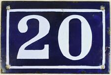 Old blue French house number 20 door gate plate plaque enamel steel sign c1950