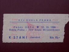 TICKET DUKLA PRAHA - TSV BAYER LEVERKUSEN  22/10/1986 C3