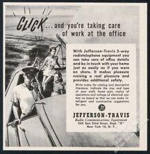 1946 Jefferson Travis 2-way radio telephone sailboat art vintage print ad