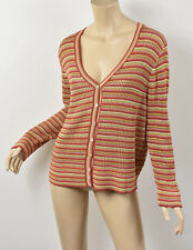 PERUVIAN CONNECTION Sheer Loose Knit Striped Pima Cotton Cardigan Sweater XL