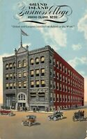 Grand Island Business College street view ~1920 autos h/b -  Antique POSTCARD