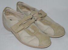 Munro American Casual Shoes Tan Off White Fabric Leather Womens 9.5 SS