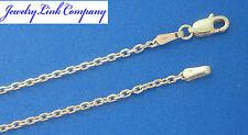 "14K Solid White Gold Diamond Cut Boston Link Chain 24"" 5.6grams 1.7mm (050)"