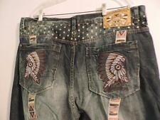 AKADEMIKS MEN'S SIZE 40 JEANS WITH AMERICAN INDIAN THEME, 100% COTTON