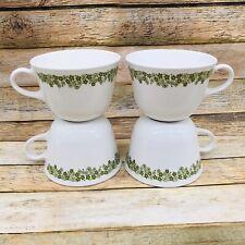 4 Coffee Cups Corning Correlle Livingware Spring Blossom Crazy Daisy Green