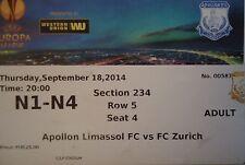 TICKET UEFA EL 2014/15 Apollon Limassol - FC Zürich