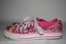 Skechers Twinkle Toes Girls Pink Silver Sequin Shoes Rainbow Youth Lace Up  2