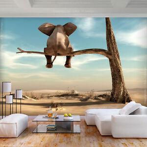 VLIES FOTOTAPETE Afrika Elefant Baume Himmel Landschaft TAPETE WANDBILDER XXL