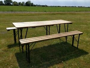 Vintage Rustic Antique Pine British Military Folding Table and Bench Set - Army