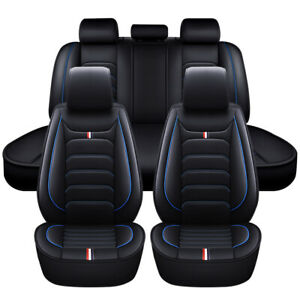 Car Seat Covers Full Set Breathable Front Rear PU Leather Protector Blue Black