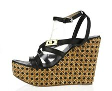 Womens TORY BURCH Black Leather Buckles Strappy Wedge Heels Sandals Size 10 M