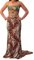 Sherri Hill Leopard  Emerald Sequin Prom Formal Gown #32101 2 Piece Size 4  NWT