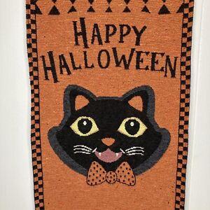 "Halloween Tapestry Black Cat Wall Hanging Decor Banner 13"" X 36"" Orange"