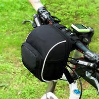 Black Waterproof  Hiking Bicycle Handlebar Bag Bike Front Frame Pannier Pack