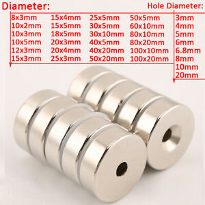 Dia 8mm to 100mm N35 Strong Round Ring NdFeB Magnets Neodymium Hole 3mm to 20mm