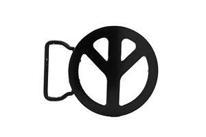 Men Women Round Shape Belt Buckle Black Metal Peace Sign Freedom Biker Rocker