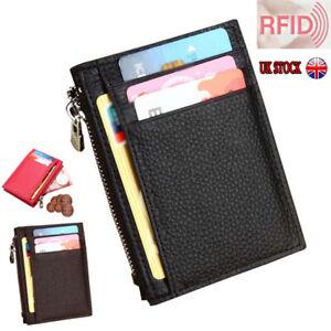 UK Men RFID BLOCKING Real Leather Mini Wallet Zip Coin Slim Pocket Purse ID Card