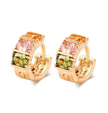 Beautiful Multi Color Cubic Zirconia, Yellow Gold Plated Earrings