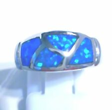 "GORGEOUS BLUE FIRE OPAL RING UK Size ""I"" US 4.5"