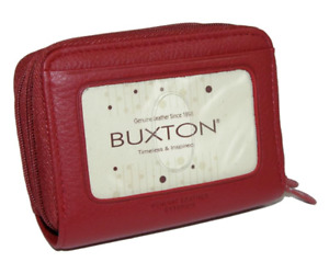 NEW Buxton Red Leather Hudson Pik-Me-Up Wizard Wallet 235sr20 Credit Card ID