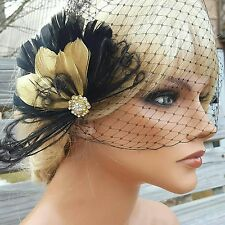 Great Gatsby Style Black Gold Feather Hair Clip,  Black Bridal Veil, party