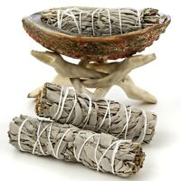Abalone Shell, Natural Wooden Tripod, and 3 California White Sage Smudge Sticks