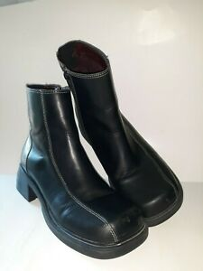 """AMERICAN EAGLE """"1977"""" Blk Leather Ankle Boots Vintage 90s Y2K CHUNKY! Wm Sz 7"""