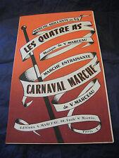 Partition Les quatre as V Marceau Carnaval Marche 1960 Music Sheet