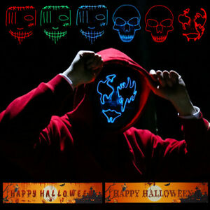 Halloween LED Cosplay Costume Light Up Party Scary Purge Dress Decoration